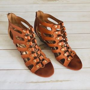Madden Girl caged gladiator wedge tan sandals